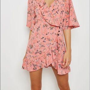 Top shop pink ruffle floral Tea Dress